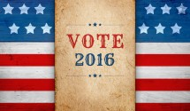 United States presidential election day 2016, message Vote, patriotic background