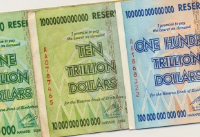 Banknotes of Zimbabwe including a banknote of one hundred trillion dollars. This banknote has the highest nominal value in history. The hyper inflation in Zimbabwe in 2008 and 2009 broke every record. (No longer in circulation).
